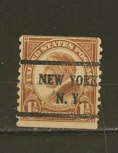 USA 598 Harding Coil New York NY Precancel Used