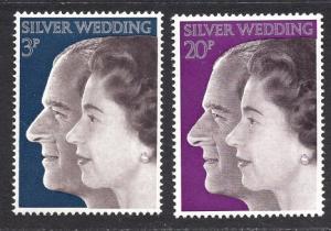 Great Britain  #683-684  MNH  1972 Royal wedding