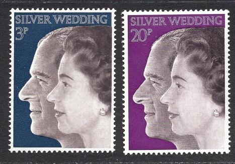 Great Britain  #683-684  MNH  1972 Royal wedding