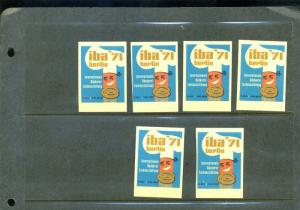 6 BERLIN IBA '71 BACKEREI FACHAUSSTELLUNG Bakery POSTER STAMPS (L1061) GERMANY