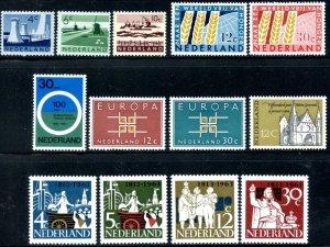 NETHERLANDS Sc#399-403, 413-22 1962-1964 Six Complete Sets OG Mint Hinged