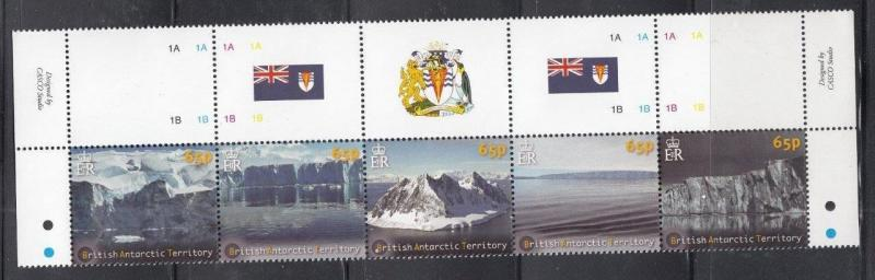 BRITISH ANTARCTIC TERRITORY # 433-434 VF-MNH STRIPS OF 5 GLACIERS & ICESHEETS