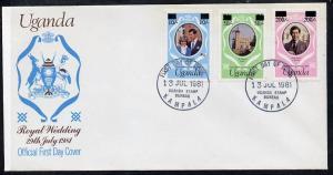 Uganda 1981 Royal Wedding set of 3 (type A surcharges) on...
