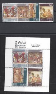 Sri Lanka, 478-81a, Rock & Temple Paintings Singles & S/S, **MNH**