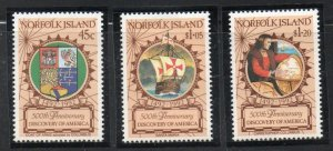 Norfolk Island Sc  517-19 1992 Discovery of America Columbus stamp set mint NH