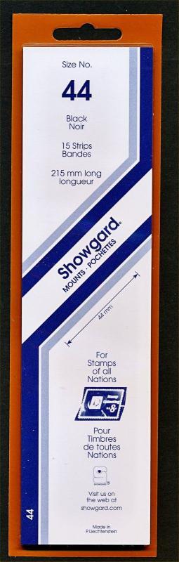 Showgard Stamp Mounts Size 44 mm / 215 mm BLACK Strip  (Pack of 15)
