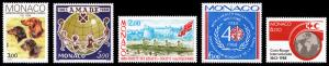 Monaco Scott 1621, 1622, 1631, 1633, 1634 (1988) Mint NH VF B