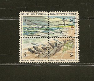 USA 1451a National Parks Centennial Se-tenant Block of 4 Used
