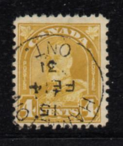 Canada Sc 168 1930 4 c yellow bistre G V Arch issue stamp used