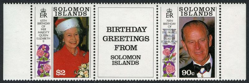 Solomon Islands 689a pair/label3,MNH.Birthday Greetings:QE II, 65,Philip,70,1991