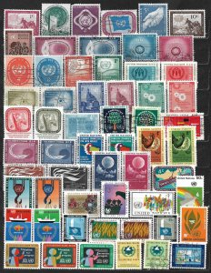 COLLECTION LOT OF 59 UNITED NATIONS 1951+ STAMPS