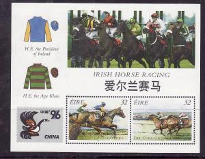 Ireland-Sc#1003c-unused sheet-stamp NH-hinged 3 times in margin-Irish Horse Raci