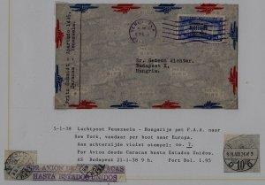 Venezuela/Hungary airmail cover 5.1.38