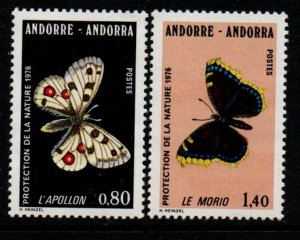 Andorra (Fr) Sc 251-52 1976 Butterflies stamp set mint NH