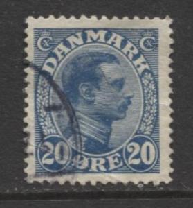 Denmark - Scott 103 - King Christian X Issue -1913 - Used - Single 20o Stamp