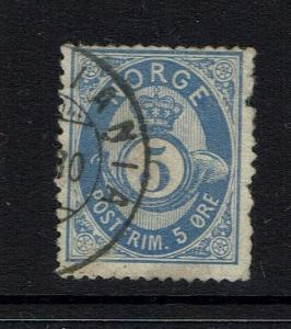 Norway SC# 24, Used, Pulled right perf - Lot 041617
