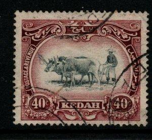 MALAYA KEDAH SG35 1921 40c BLACK & PURPLE FINE USED