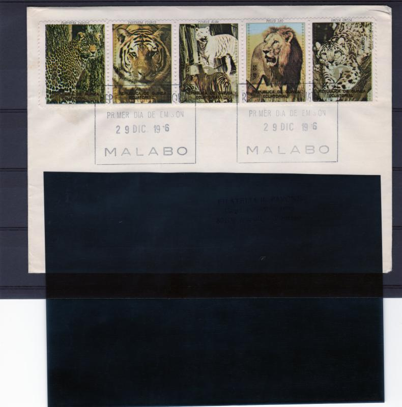 Equatorial Guinea 1976 Lions/Tigers Ovpt.Lions International in Gold Strip FDC
