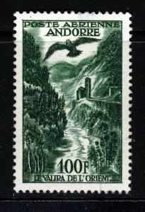 ANDORRA (French) 1955 100 Fr. Deep Green AIR MAIL SG F163 MINT