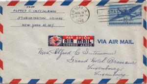 United States Transport Issue 30c Transport 1946 New York, N.Y. Station D Air...