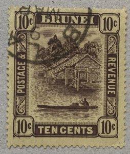 Brunei: 1937 10c used with BELAIT village cds. Scott 54, CV $32.50.   SG 73