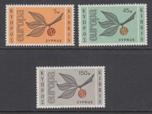 Cyprus Sc 262-264 MLH. 1965 EUROPA - CEPT issue, complete set