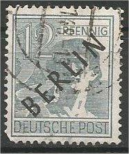 BERLIN, 1948, used 12pf  Overprinted Scott 9N5