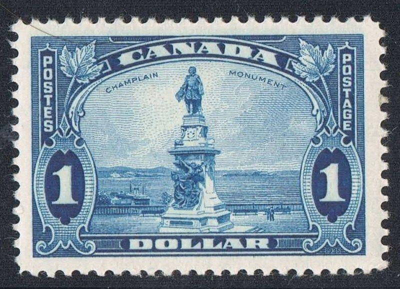 Canada #227 $1 Pale Blue Champlain Monument 1935 Dated Die Issue - VF-78 LH