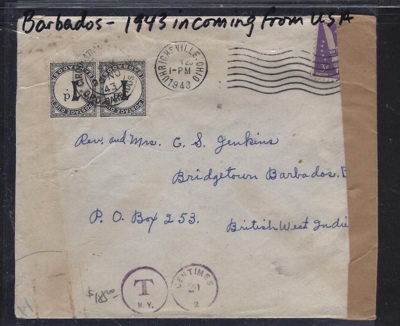 BARBADOS  (P1609B)  1943 INCOMING POSTAGE DUE 1DX2 VERY SCARCE