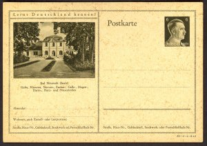 GERMANY 1941 6pf HITLER HEAD Learn to Know Germany Postal Card 42-6-1-B19 Unused