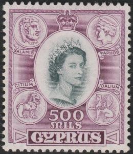 CYPRUS 1955 QE 500m fine mint lightly hinged...............................65735
