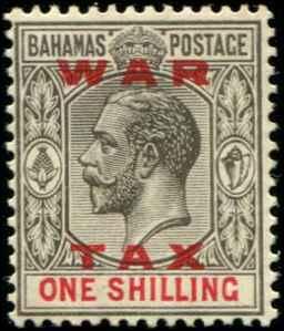 Bahamas SC# MR13 SG# 104 War Tax 1shilling MH