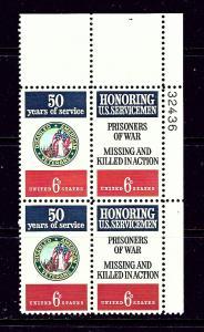 U.S. 1421-22 MNH 1970 Honoring U.S. Servicemen Plate Block