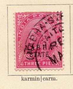 Nabha 1881-1900 Early Issue Fine Used 3p. Optd 322540
