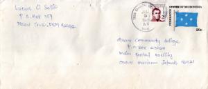 Caroline Islands Micronesia 2c Duperrey on 20c Flag Envelope 1985 Truk Caroli...