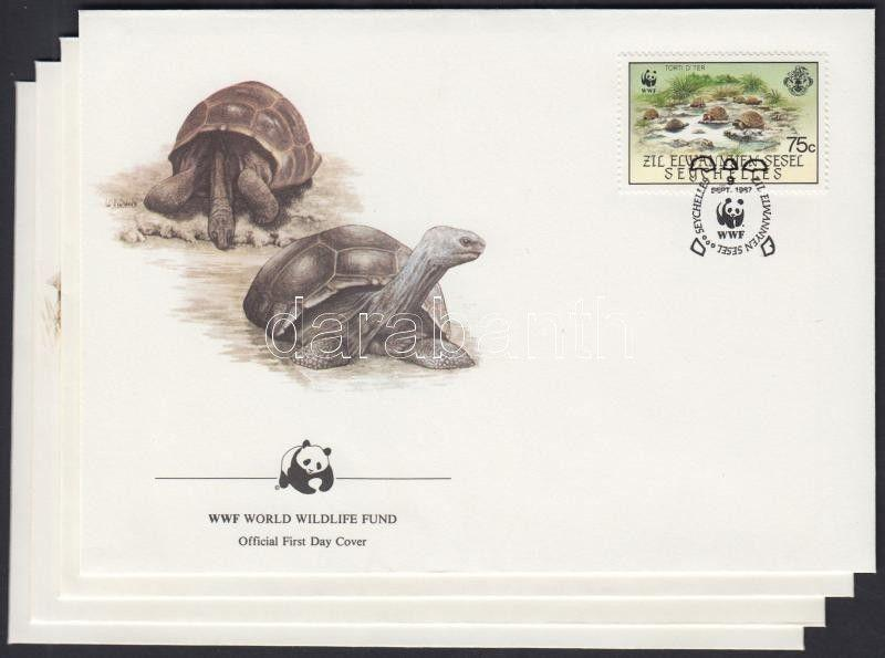 Seychelles-Zil Elwannyen Sesel stamp WWF Turtles set 4 FDC Cover 1987 WS211395
