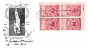 #979, 3c American Turners, Art Craft, plate block of 4