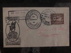 1932 Guayaquil Ecuador First Flight cover FFC to Manta