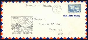 Canada Sc# C6 First Flight (Edmonton>TorontoOnt) 1939 3.1 Trans Canada Air Mail