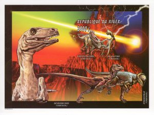 Niger 1996 Sc#927 Dinosaurs/Halley's Comet Souvenir Sheet IMPERFORATED MNH