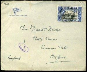Sierra Leone Elder Demster Lines 1939 KGVI 3d Censor /5.