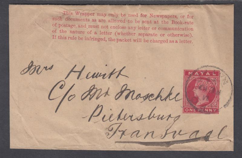 Natal H&G E2 used 1885 1p carmine Queen Victoria Wrapper to Transvaal