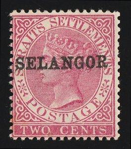MALAYA - Selangor: 1885 QV Straits 2c SG type 30. with CERTIFICATE. RARE!