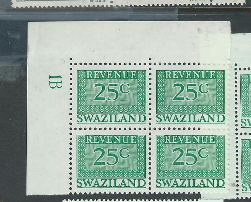 SWAZILAND (P1907B) MODERN REVENUE 25C PLATE 1A, 1B    NUMBER BL OF 4     MNH