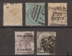 Ceylon Sc 66a/129 used 1872 issues, 5 early singles