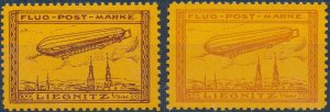 Stamp Label Germany 1911 Zeppelin Airship Poster Cinderella Liegnitz Reprint MNH