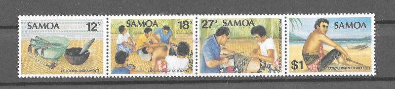 Samoa MNH Strip 561 Tattooing 1981