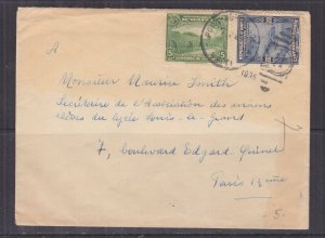 HAITI, 1935 cover, Port Au Prince to Paris, France, 5c. & 25c.