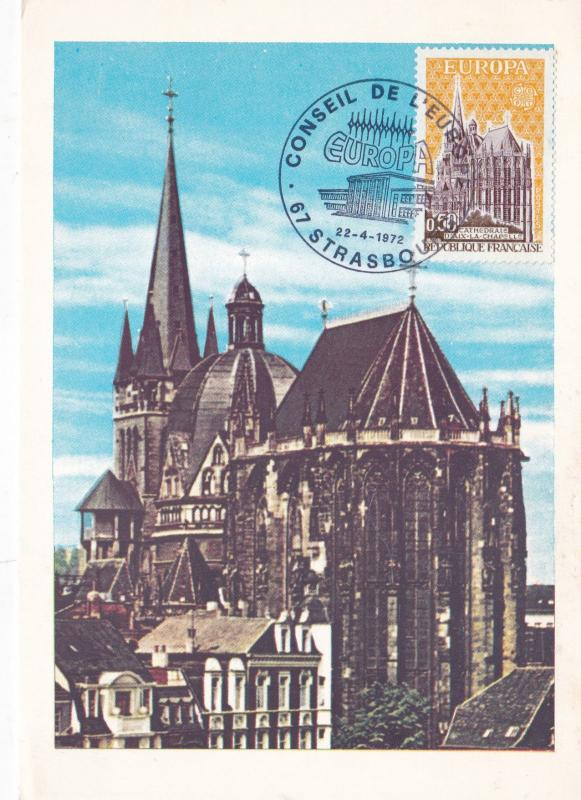 France 1972 The Cathedral d'Aix-la-Chapelle Maxim Card FDC Unused VGC