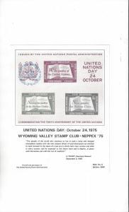 UN Wyoming Valley Stamp Club NEPPEX 75 Mint Show Card MJK #5 w/Show Stamp